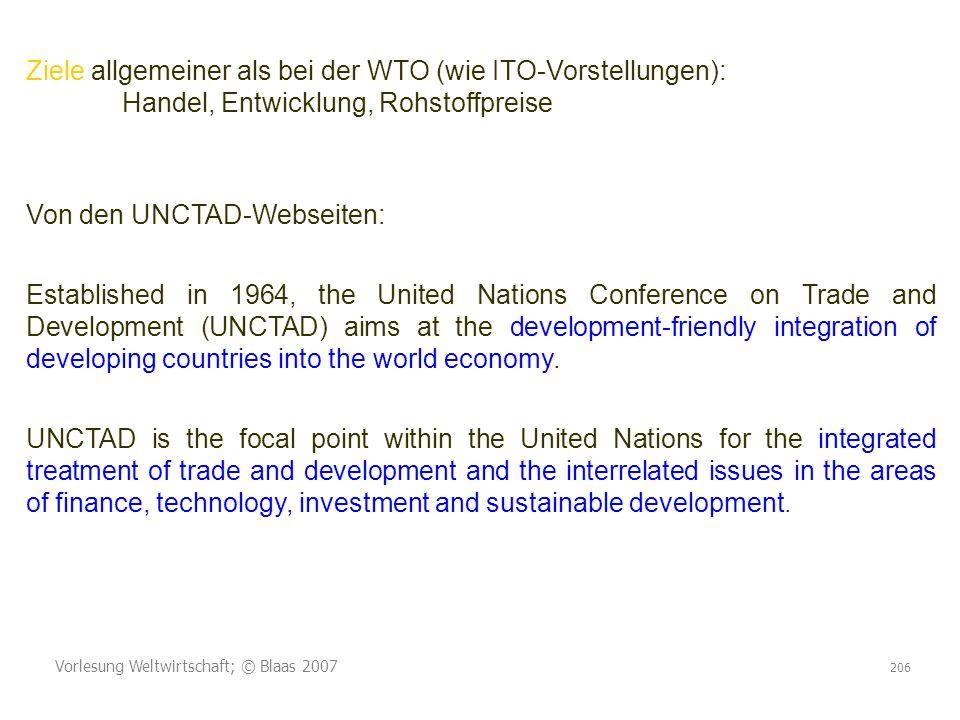 Ziele allgemeiner als bei der WTO (wie ITO-Vorstellungen):