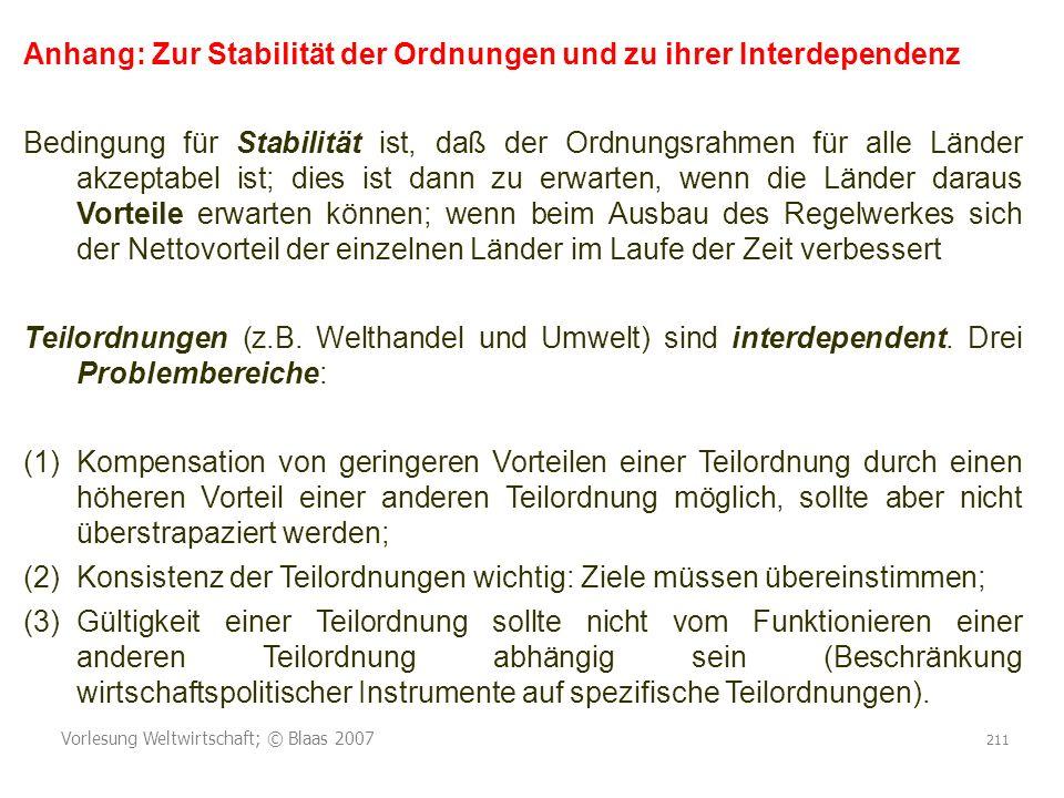 Anhang: Zur Stabilität der Ordnungen und zu ihrer Interdependenz