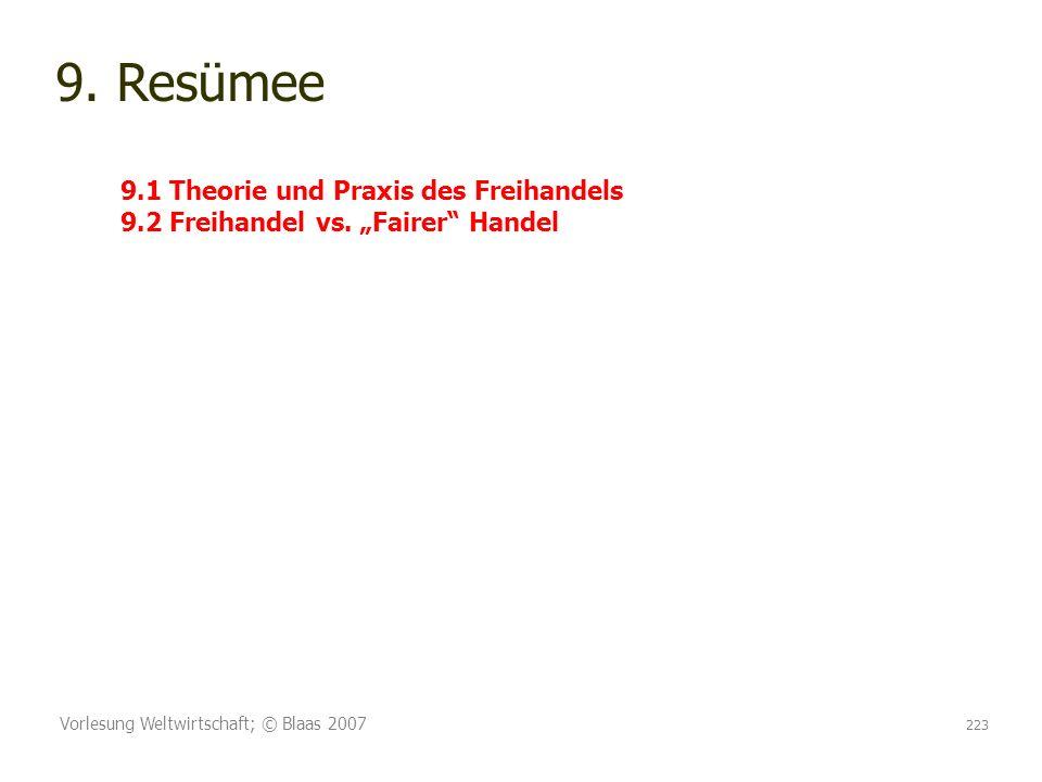 9. Resümee 9. 1 Theorie und Praxis des Freihandels 9. 2 Freihandel vs
