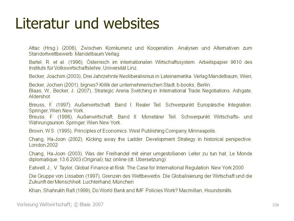 Literatur und websites