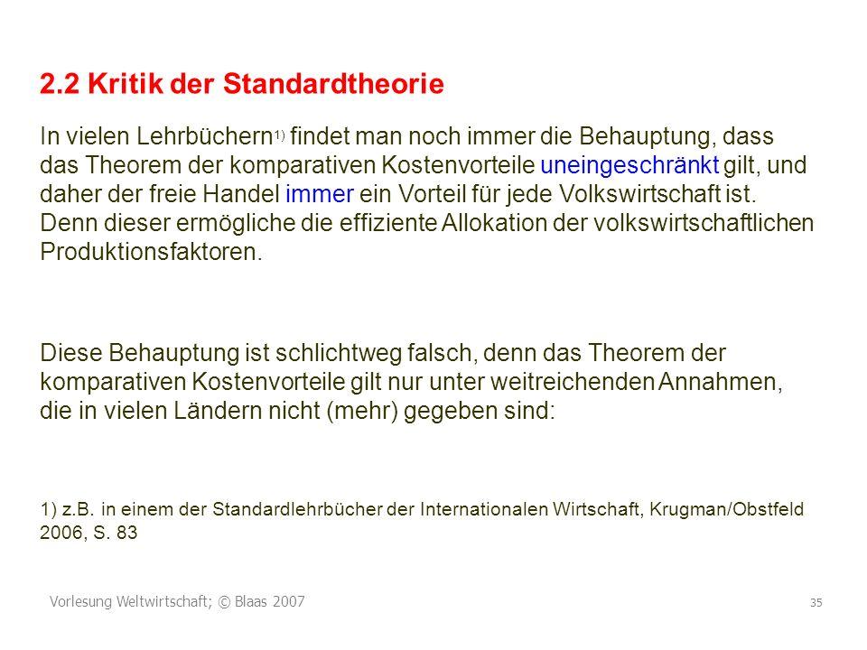 2.2 Kritik der Standardtheorie