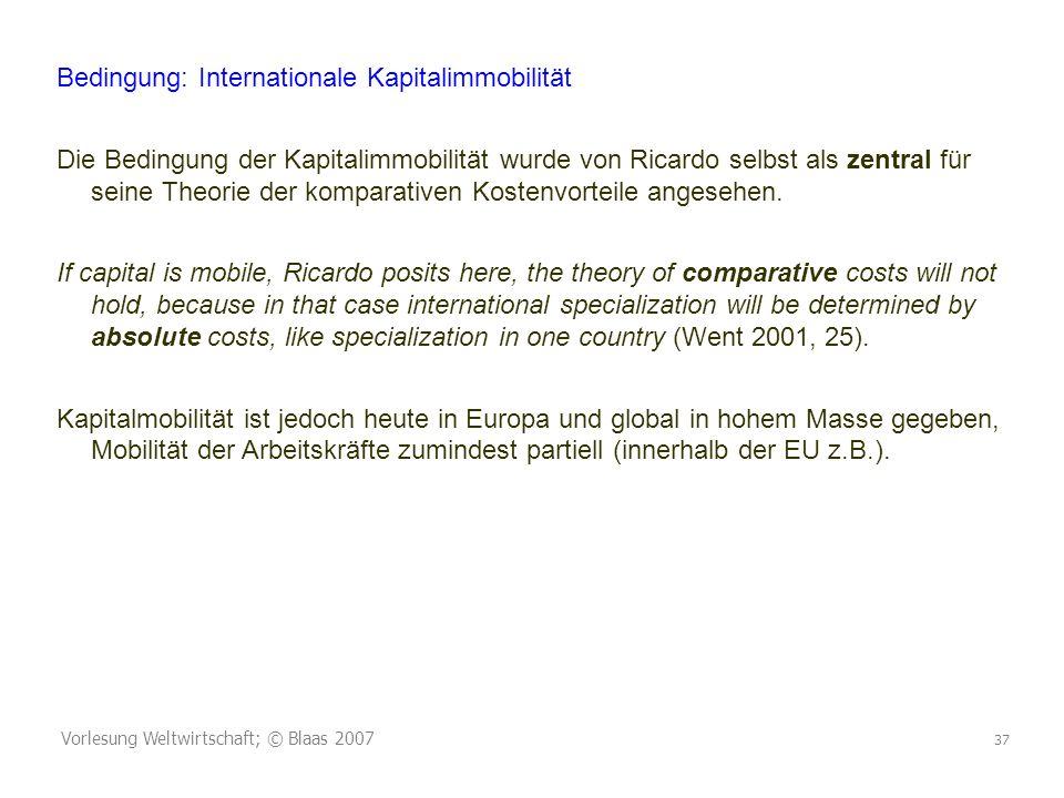 Bedingung: Internationale Kapitalimmobilität