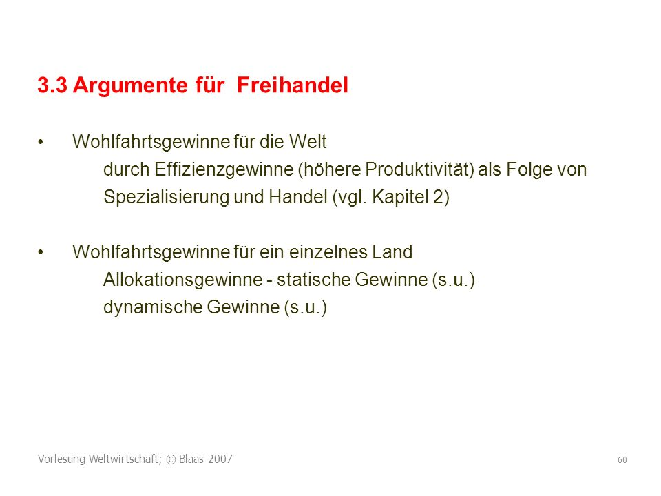 3.3 Argumente für Freihandel