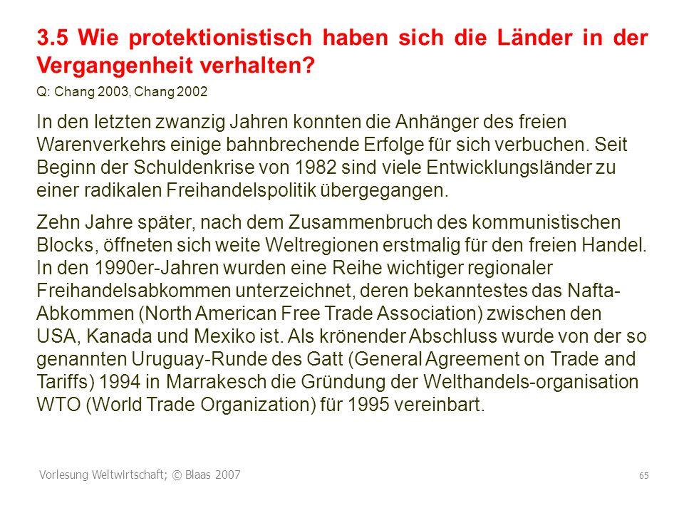 3.5 Wie protektionistisch haben sich die Länder in der Vergangenheit verhalten