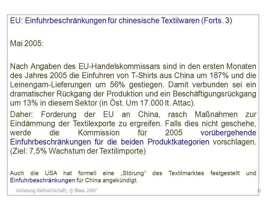 EU: Einfuhrbeschränkungen für chinesische Textilwaren (Forts. 3)
