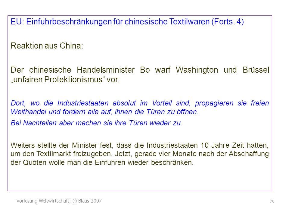 EU: Einfuhrbeschränkungen für chinesische Textilwaren (Forts. 4)