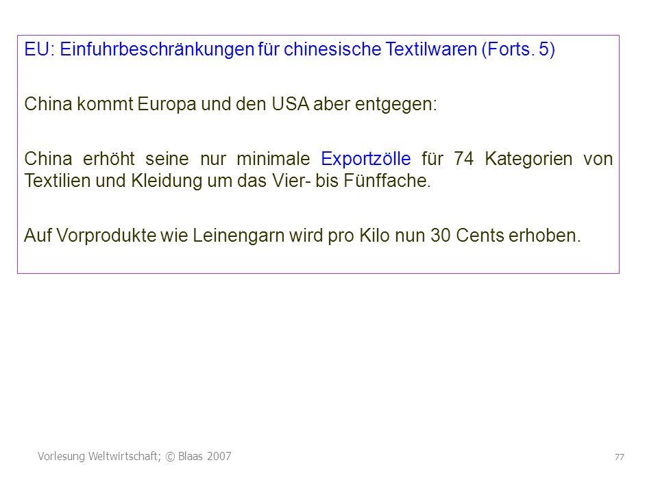 EU: Einfuhrbeschränkungen für chinesische Textilwaren (Forts. 5)