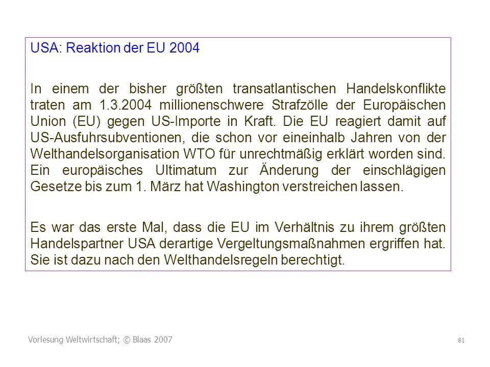 USA: Reaktion der EU 2004