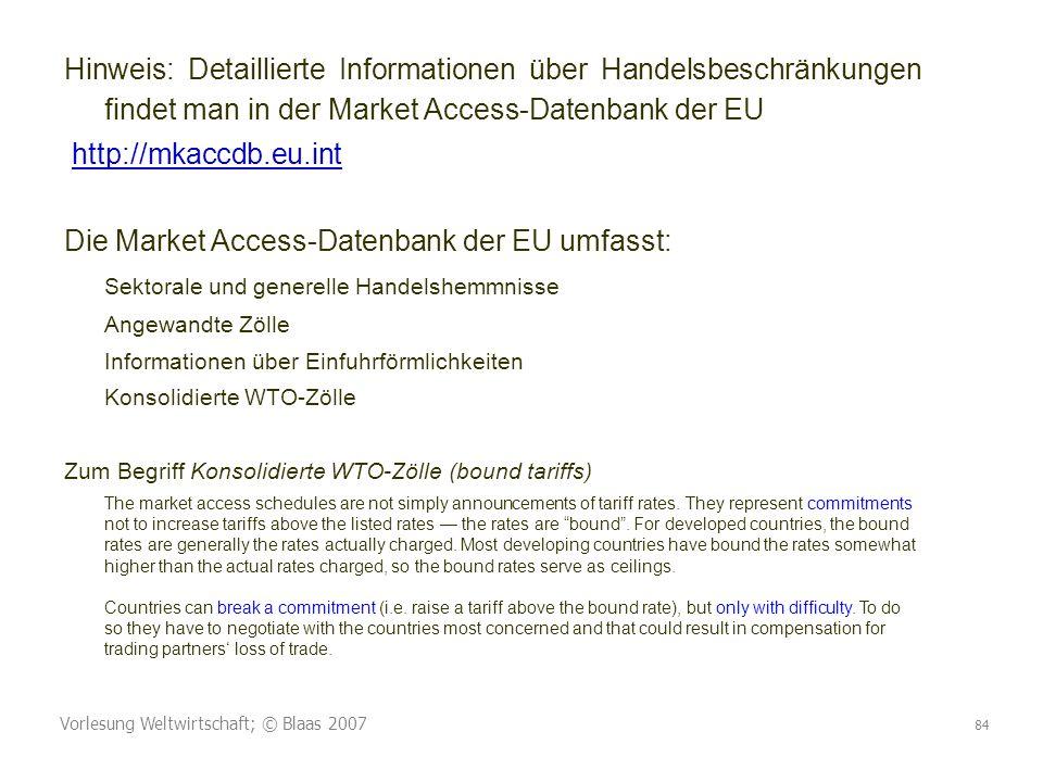 Die Market Access-Datenbank der EU umfasst: