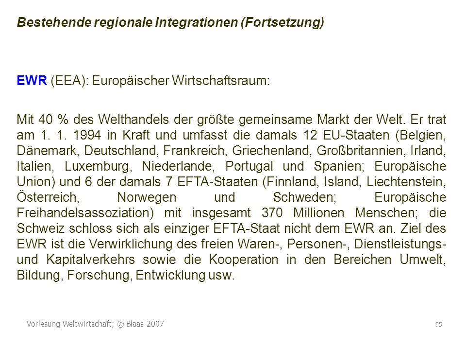 Bestehende regionale Integrationen (Fortsetzung)