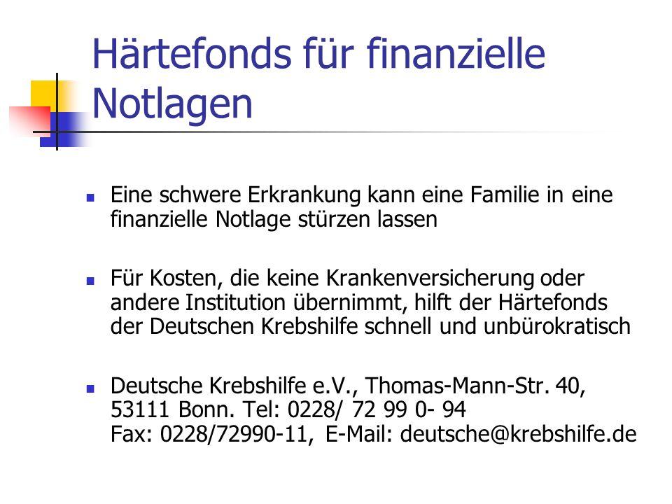 Härtefonds für finanzielle Notlagen