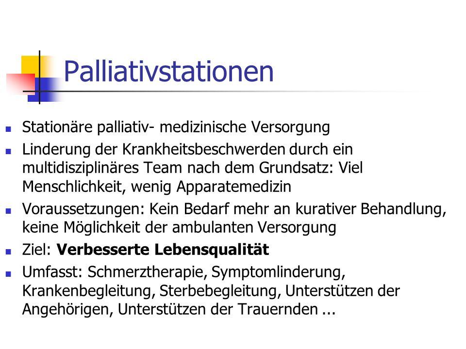 Palliativstationen Stationäre palliativ- medizinische Versorgung