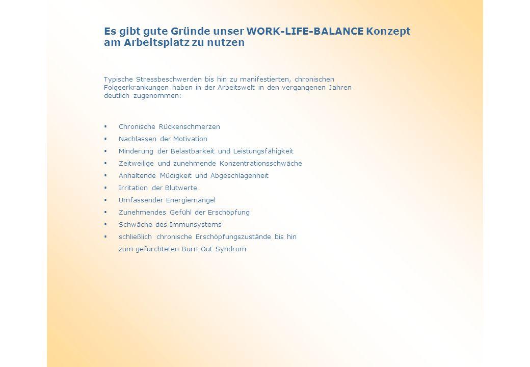 Es gibt gute Gründe unser WORK-LIFE-BALANCE Konzept