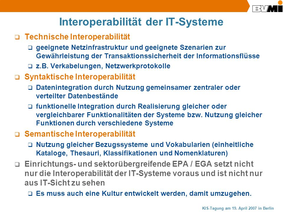 Interoperabilität der IT-Systeme
