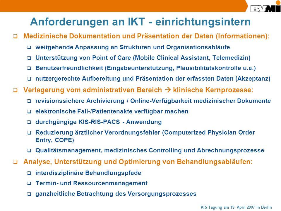 Anforderungen an IKT - einrichtungsintern