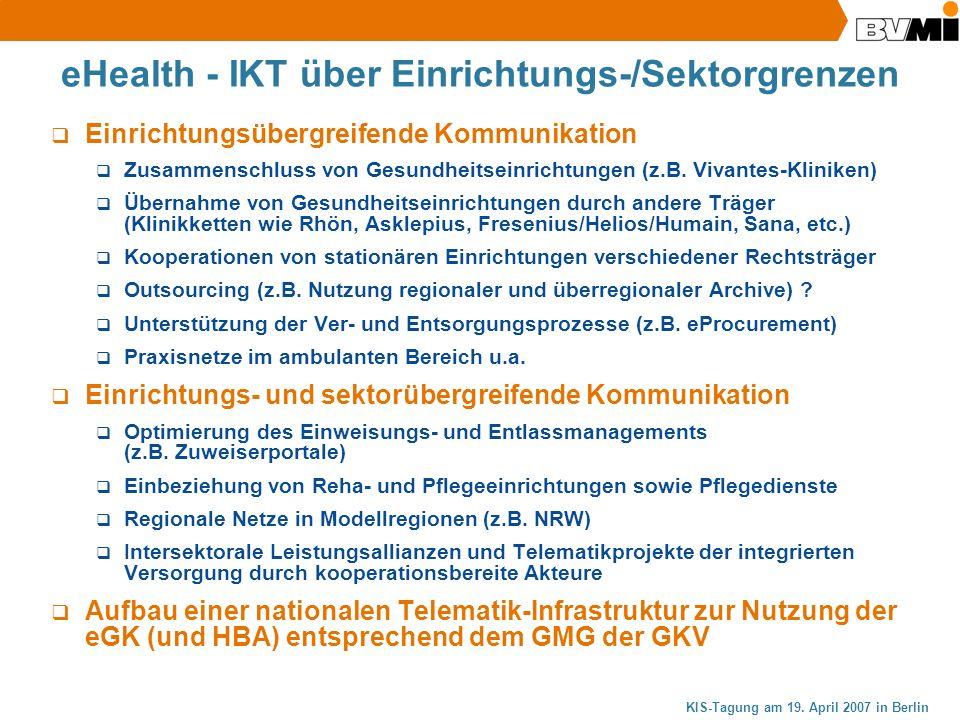 eHealth - IKT über Einrichtungs-/Sektorgrenzen