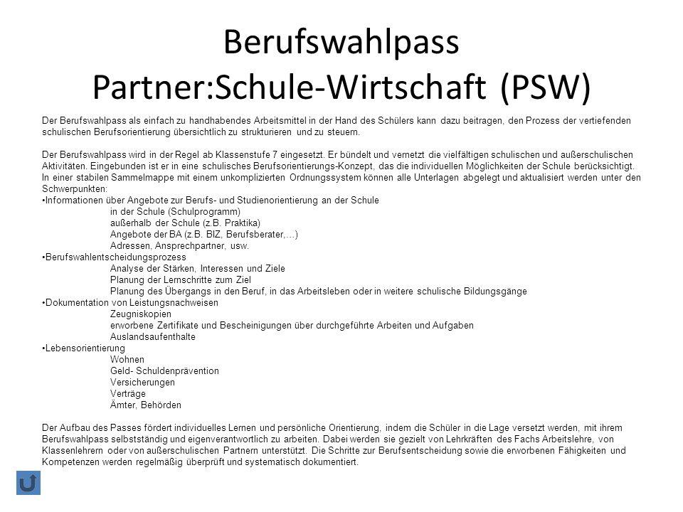 Berufswahlpass Partner:Schule-Wirtschaft (PSW)