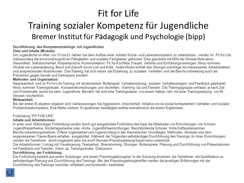 Fit for Life Training sozialer Kompetenz für Jugendliche Bremer Institut für Pädagogik und Psychologie (bipp)