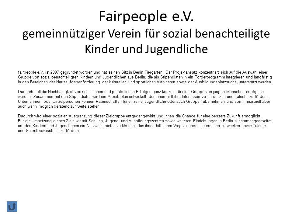 Fairpeople e.V. gemeinnütziger Verein für sozial benachteiligte Kinder und Jugendliche
