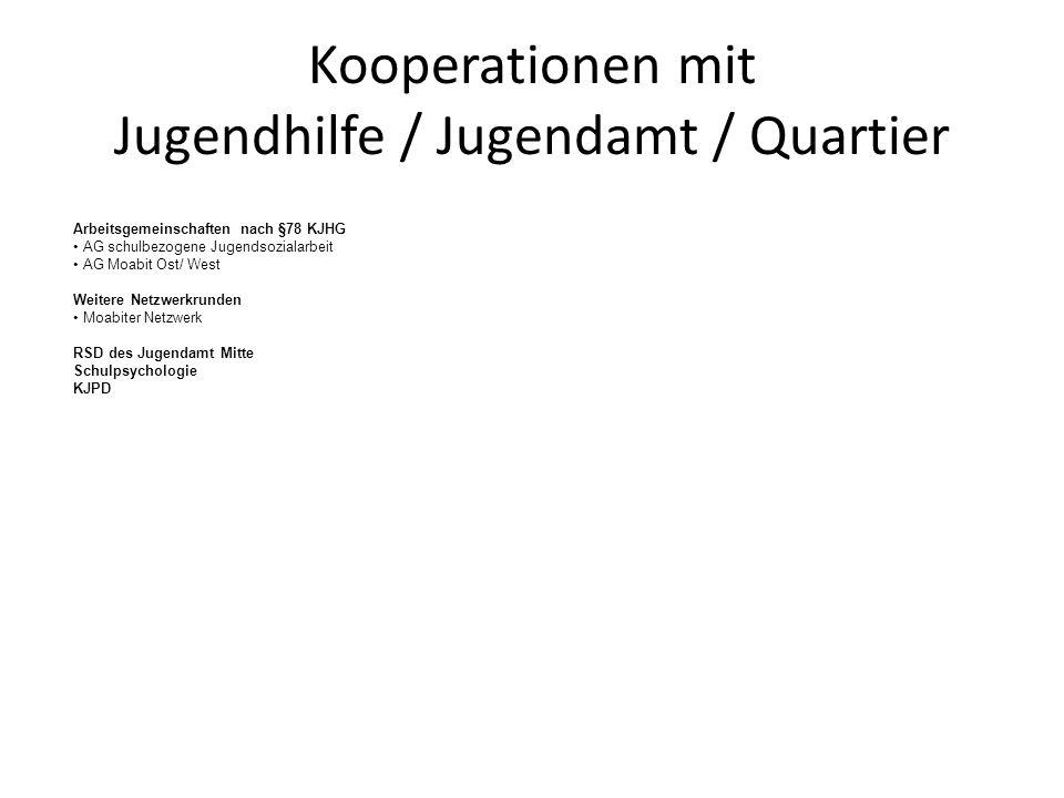 Kooperationen mit Jugendhilfe / Jugendamt / Quartier