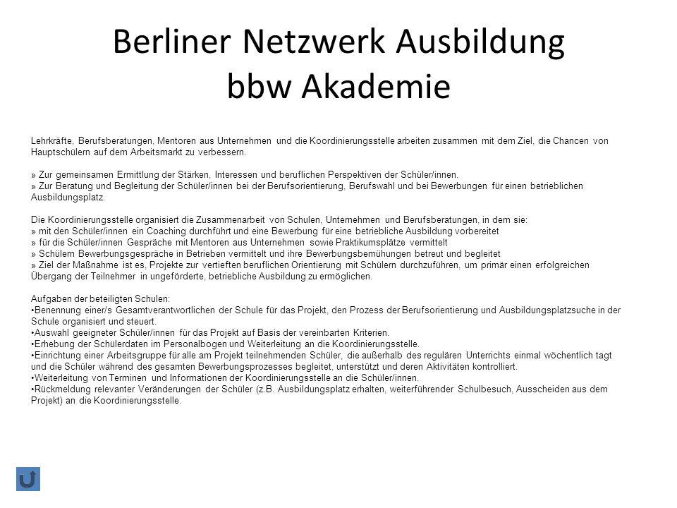 Berliner Netzwerk Ausbildung bbw Akademie