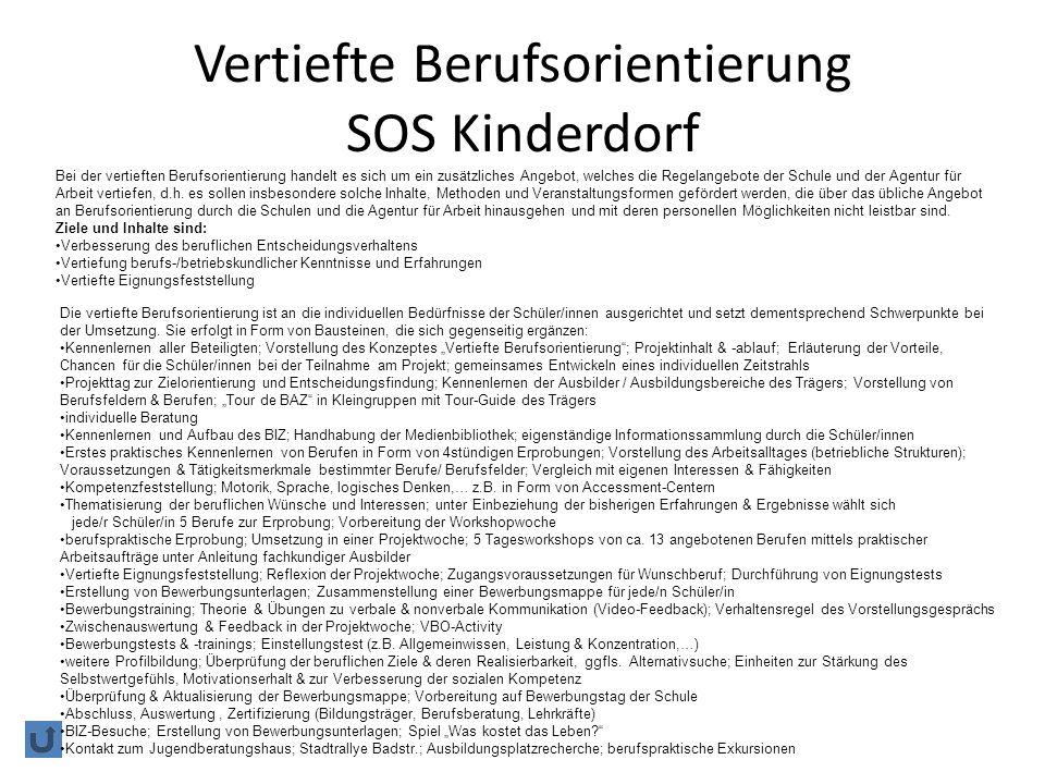 Vertiefte Berufsorientierung SOS Kinderdorf