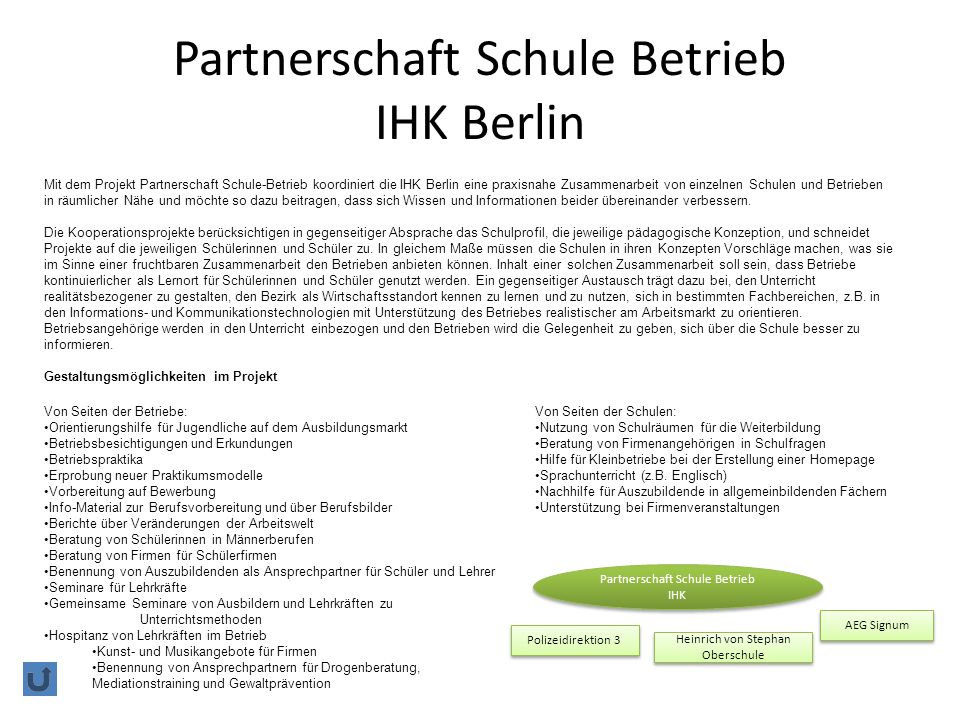 Partnerschaft Schule Betrieb IHK Berlin