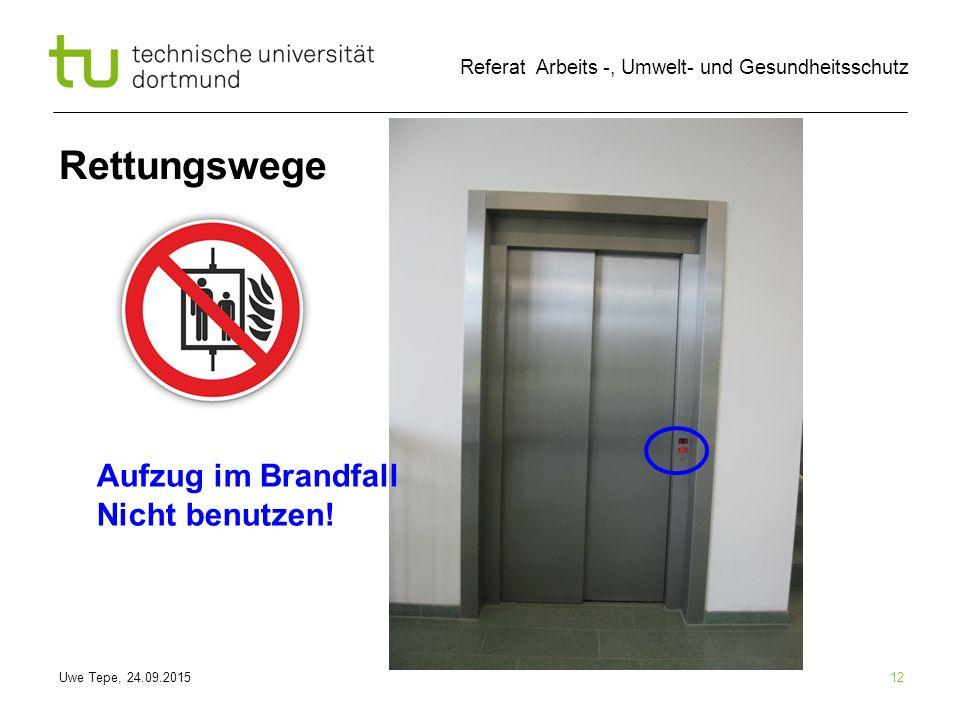 Rettungswege Aufzug im Brandfall Nicht benutzen! 12