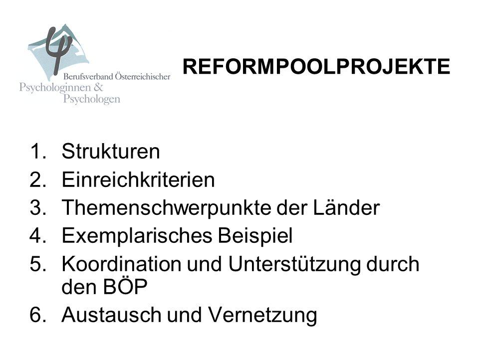REFORMPOOLPROJEKTE Strukturen. Einreichkriterien. Themenschwerpunkte der Länder. Exemplarisches Beispiel.