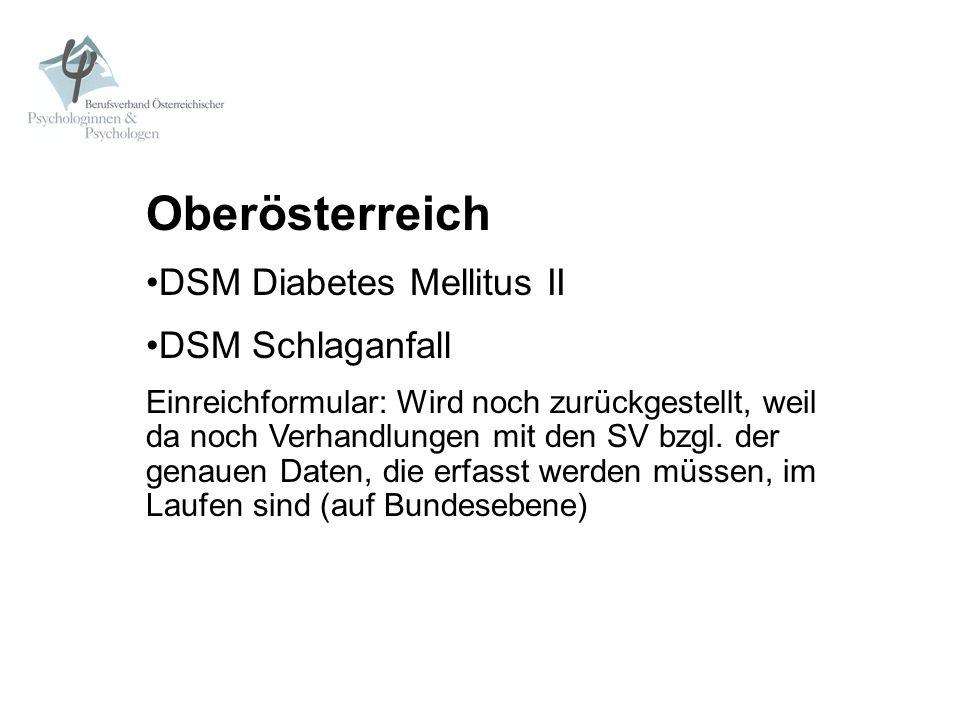 Oberösterreich DSM Diabetes Mellitus II DSM Schlaganfall