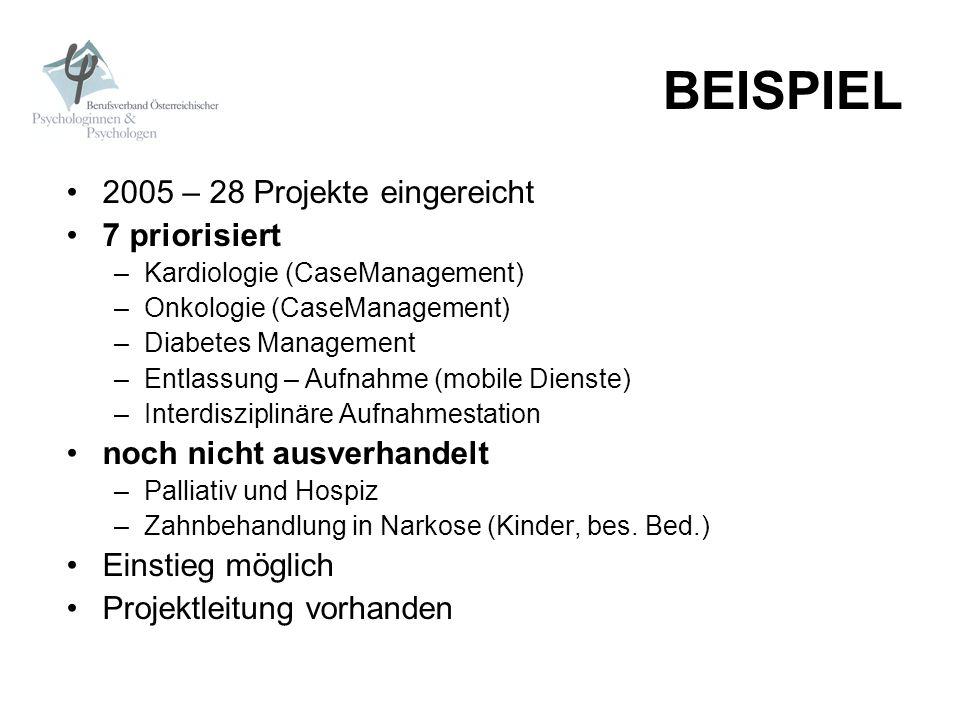 BEISPIEL 2005 – 28 Projekte eingereicht 7 priorisiert