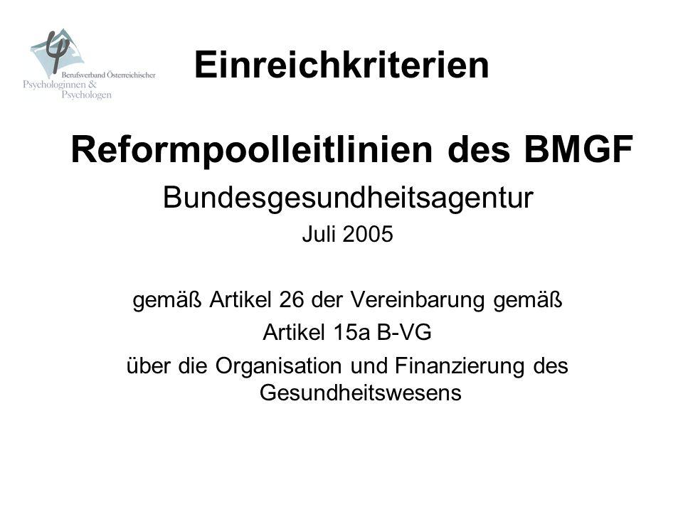 Einreichkriterien Reformpoolleitlinien des BMGF