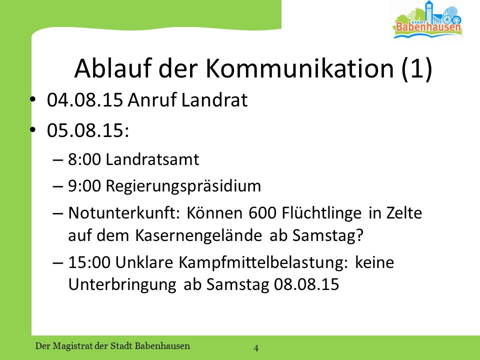 Ablauf der Kommunikation (1)