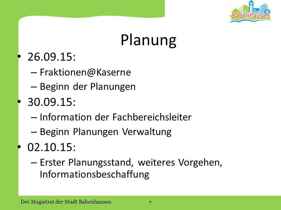 Planung 26.09.15: 30.09.15: 02.10.15: Fraktionen@Kaserne