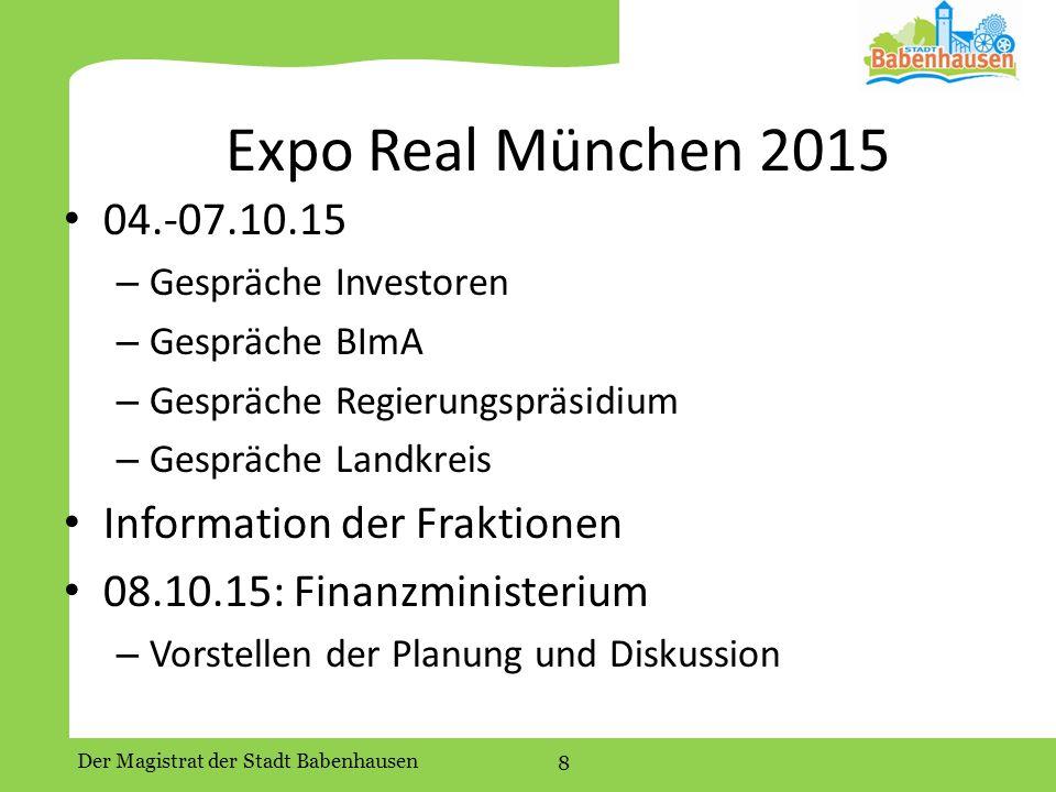 Expo Real München 2015 04.-07.10.15 Information der Fraktionen