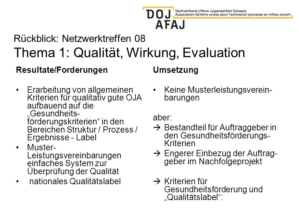 Rückblick: Netzwerktreffen 08 Thema 1: Qualität, Wirkung, Evaluation