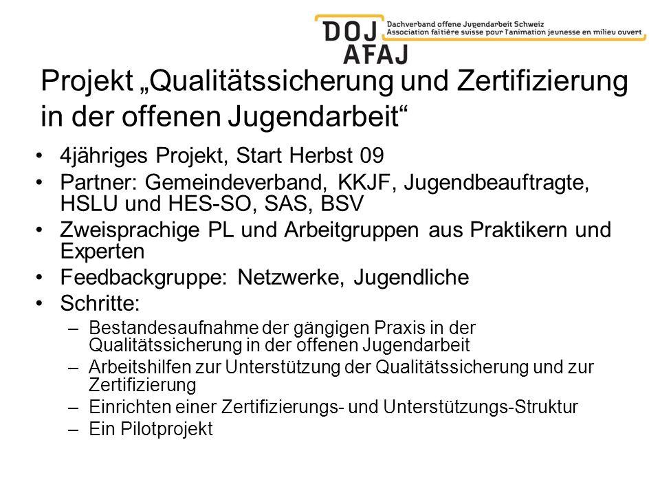 """Projekt """"Qualitätssicherung und Zertifizierung in der offenen Jugendarbeit"""