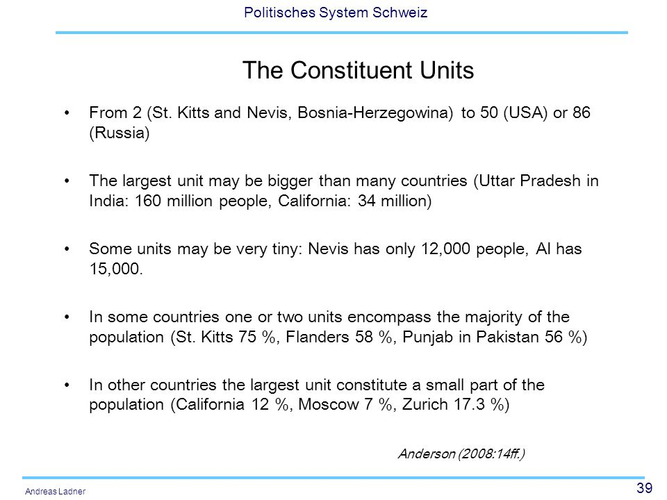 The Constituent UnitsFrom 2 (St. Kitts and Nevis, Bosnia-Herzegowina) to 50 (USA) or 86 (Russia)
