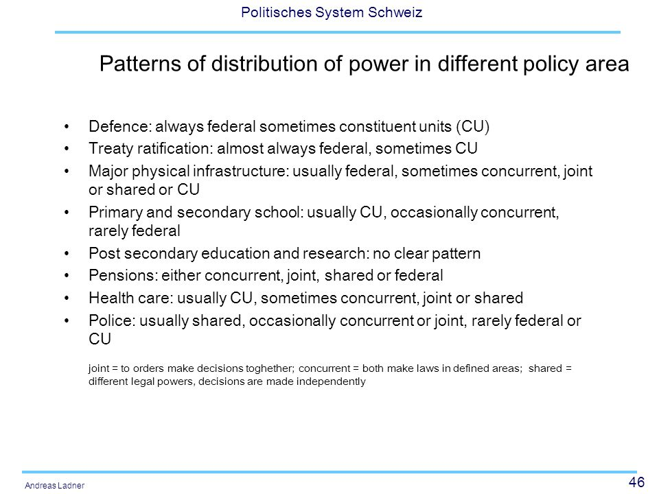 Patterns of distribution of power in different policy area