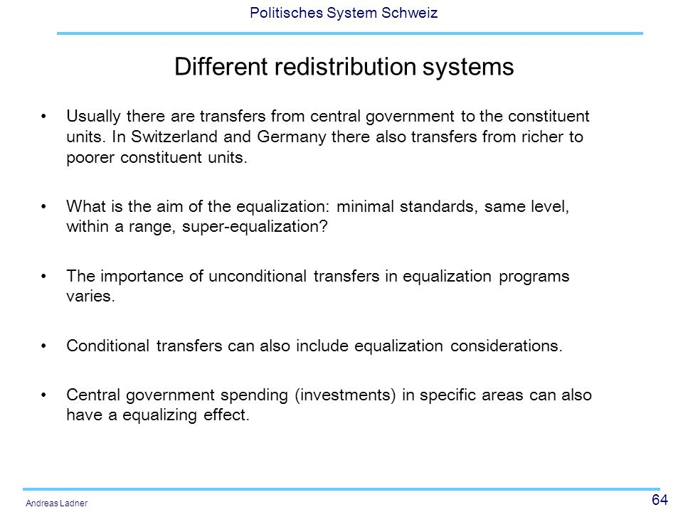 Different redistribution systems