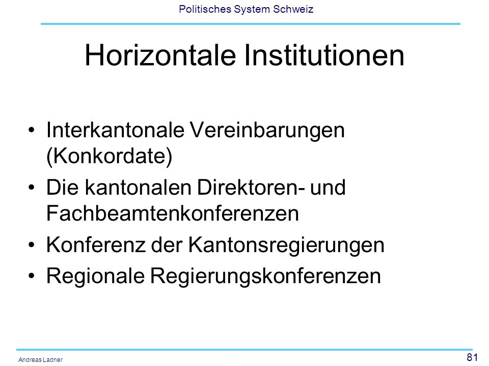 Horizontale Institutionen