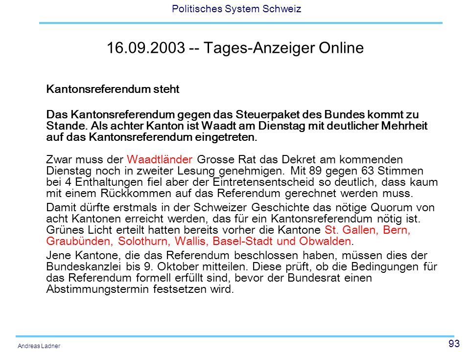 16.09.2003 -- Tages-Anzeiger Online