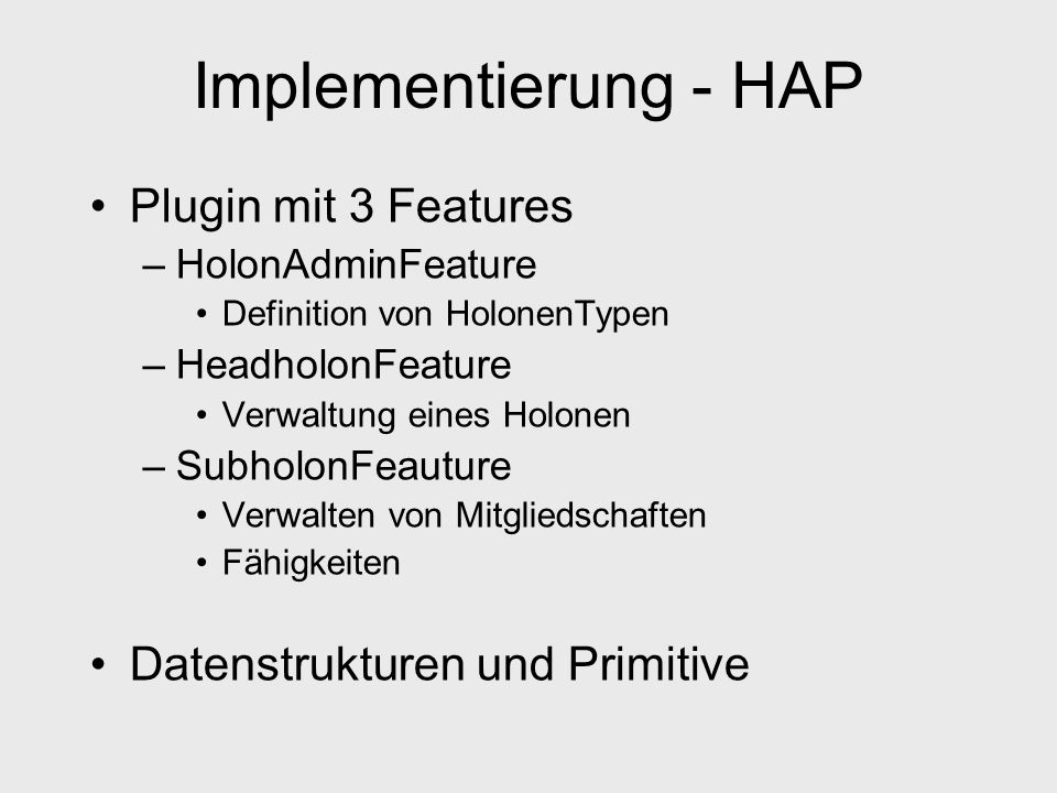 Implementierung - HAP Plugin mit 3 Features
