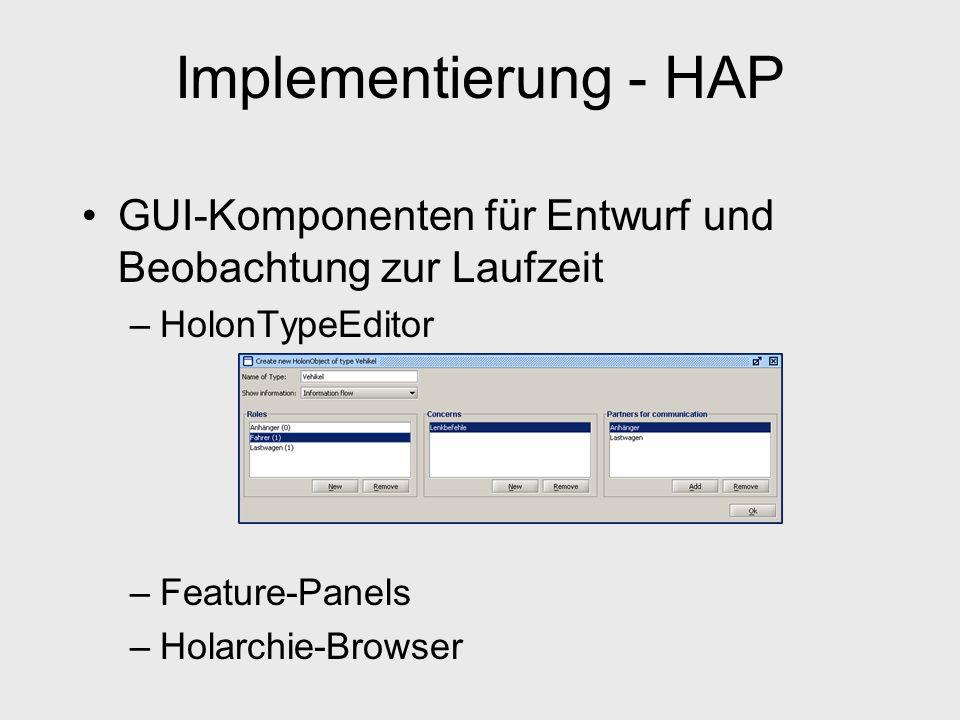 Implementierung - HAP GUI-Komponenten für Entwurf und Beobachtung zur Laufzeit. HolonTypeEditor. Feature-Panels.