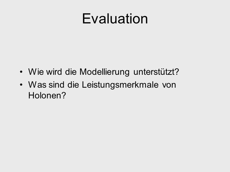 Evaluation Wie wird die Modellierung unterstützt
