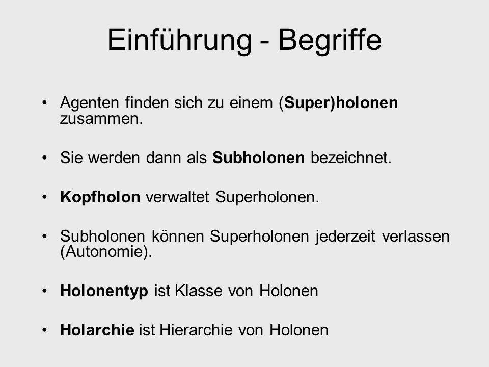 Einführung - Begriffe Agenten finden sich zu einem (Super)holonen zusammen. Sie werden dann als Subholonen bezeichnet.