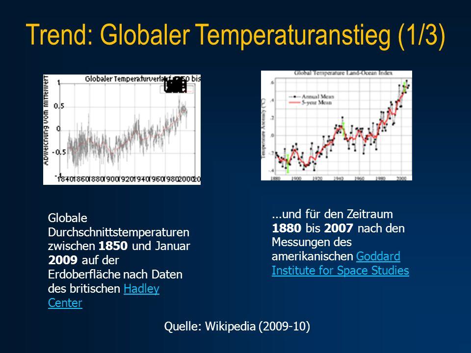Trend: Globaler Temperaturanstieg (1/3)