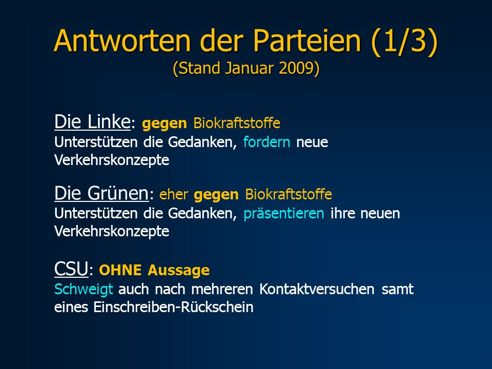 Antworten der Parteien (1/3) (Stand Januar 2009)
