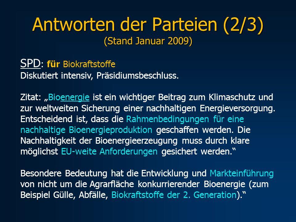 Antworten der Parteien (2/3) (Stand Januar 2009)