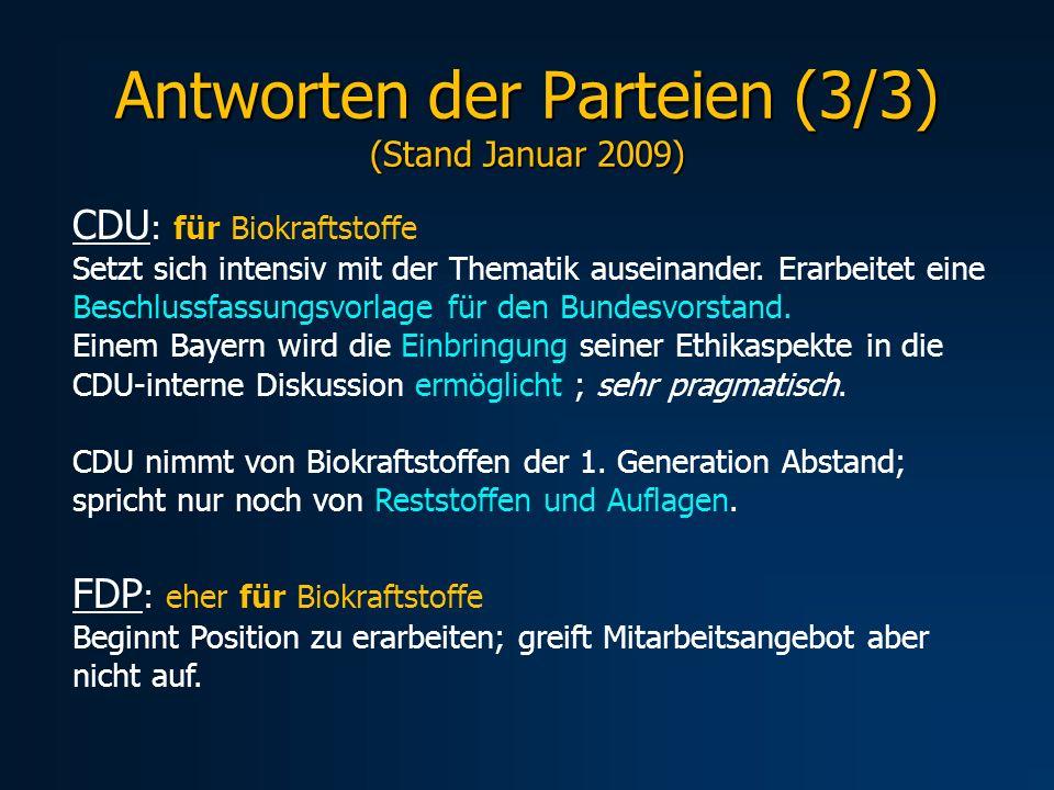 Antworten der Parteien (3/3) (Stand Januar 2009)